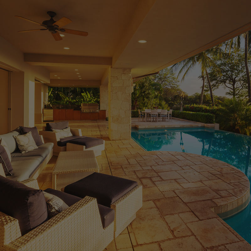 Blue pool at house for sale near the water in Key Largo, FL.